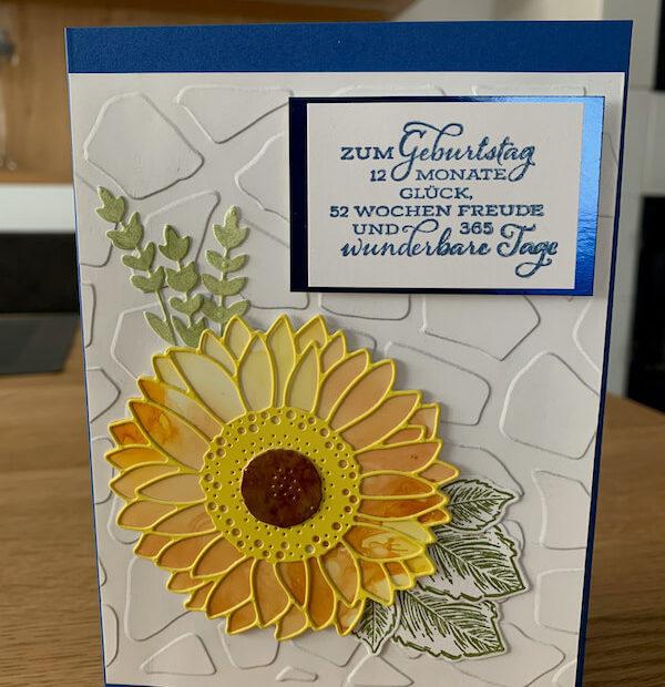Geburtstagskarte Gute Laune Gruss blau