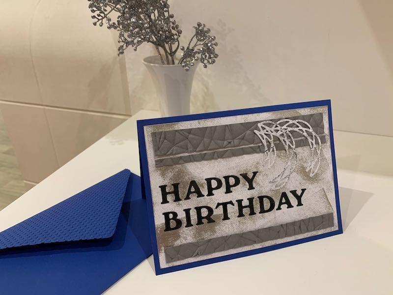 Geburtstagskarte blau/grau