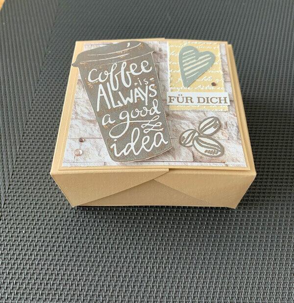 Klappbox Kaffee seitlich