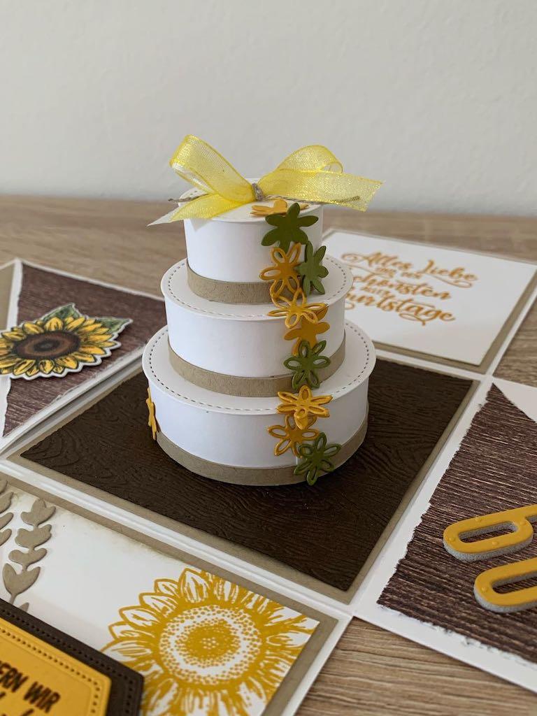 Explosionsbox_Geburtstag_Sonnenblumen_Torte